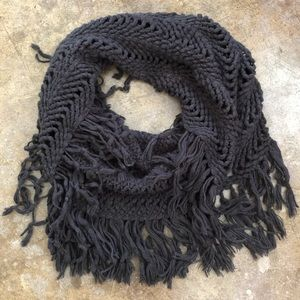 Dark gray crocheted style infinity scarf